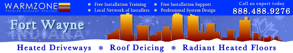 Fort Wayne radiant heated driveways, roof deicing and floor heating banner